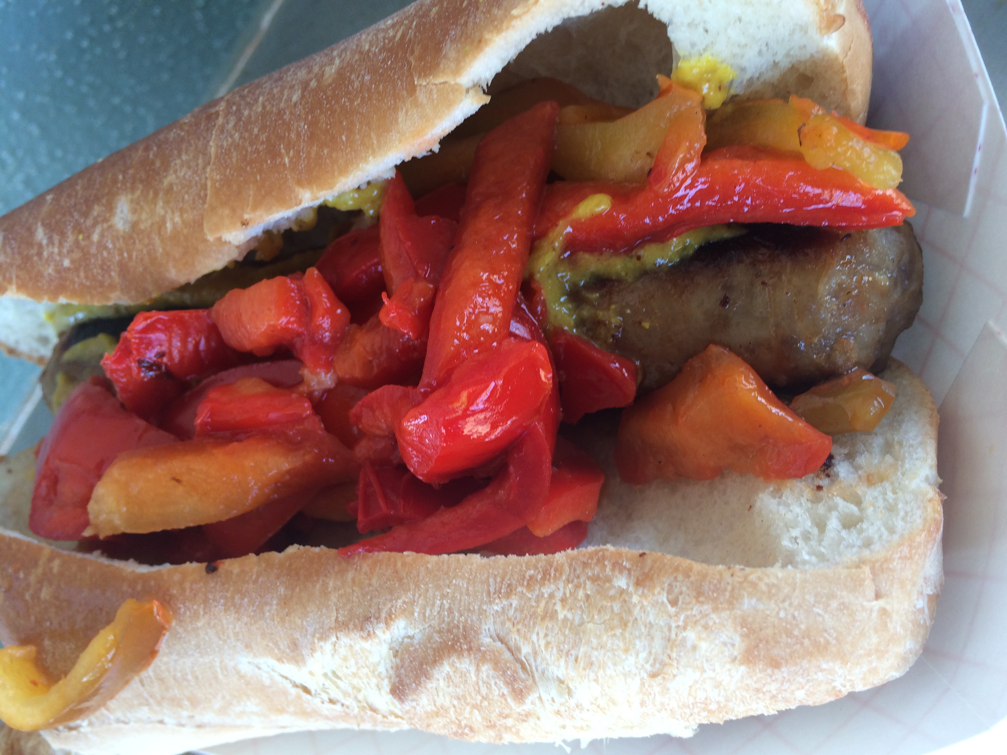 Beer Brat + Sweet Peppers & Onions