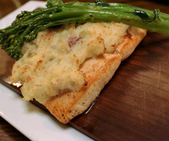 Potato Crusted Plank Salmon