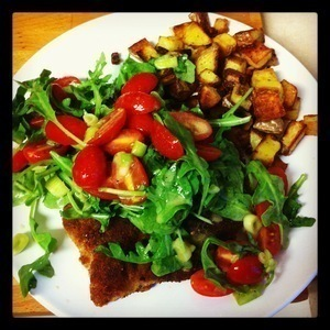 Chicken Milanese with Roasted Potatoes